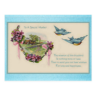 Vintage Mother's Day Bluebirds Postcard