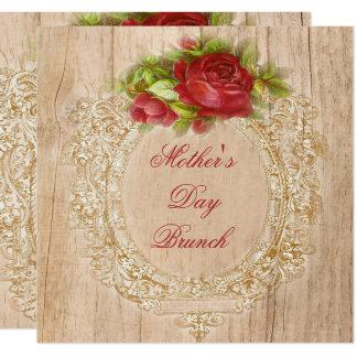 Vintage Mother's Day Brunch Red Rose Wooden Frame 13 Cm X 13 Cm Square Invitation Card