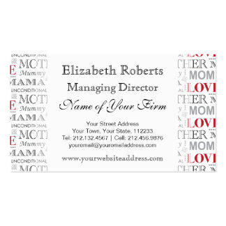 Vintage Mother's Love Mother's Day or Birthday Business Card