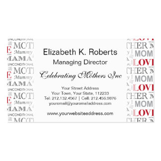 Vintage Mother's Love Mother's Day or Birthday Pack Of Standard Business Cards