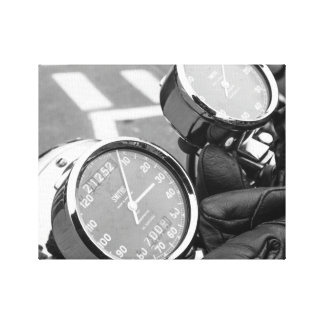 Vintage Motor Bike Dials in Black and White Canvas Print