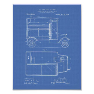 Vintage Motor Vehicle 1920 Patent Art - Blueprint Poster
