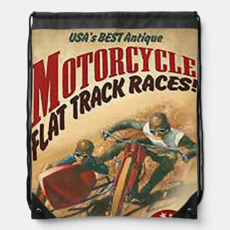Vintage Motorcycle Flat Track Advert Drawstring Bag