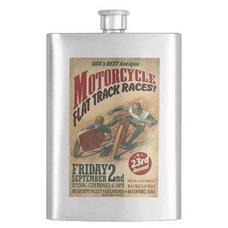 Vintage Motorcycle Flat Track Advert Hip Flask