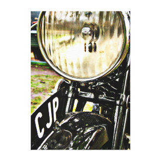 Vintage motorcycle headlight and license plate stretched canvas print
