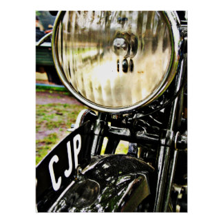 Vintage motorcycle headlight and license plate poster