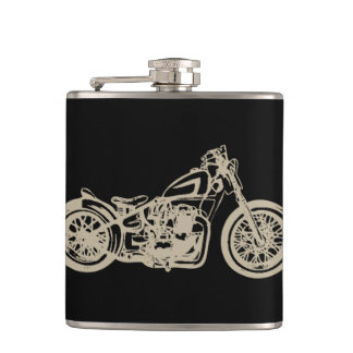 Vintage Motorcycle Illustration Hip Flask