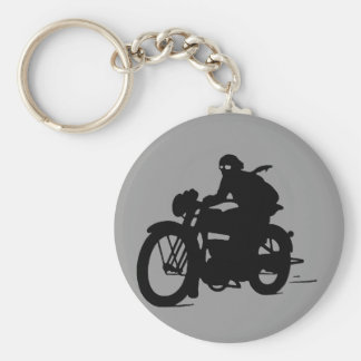 Vintage Motorcycle Man Silhouette Classic Keychain