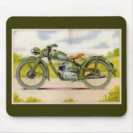 Vintage Motorcycle Print Mouse Pad
