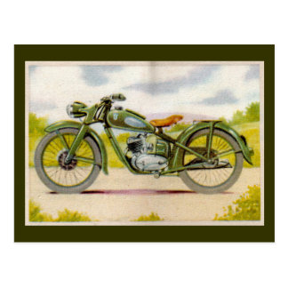 Vintage Motorcycle Print Postcard