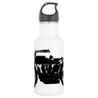 Vintage Motorcycle Silhouette in Rich Black 532 Ml Water Bottle