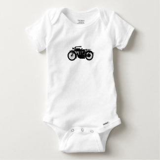 Vintage Motorcycle Silhouette in Rich Black Baby Onesie