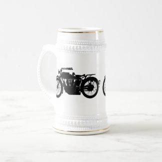 Vintage Motorcycle Silhouette in Rich Black Beer Stein