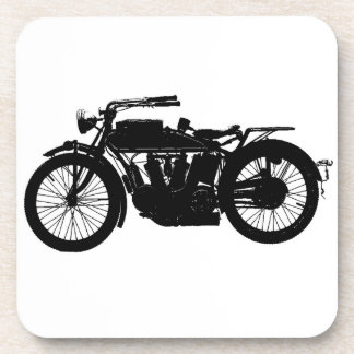 Vintage Motorcycle Silhouette in Rich Black Coaster