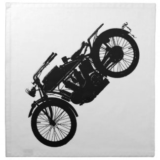 Vintage Motorcycle Silhouette in Rich Black Napkin