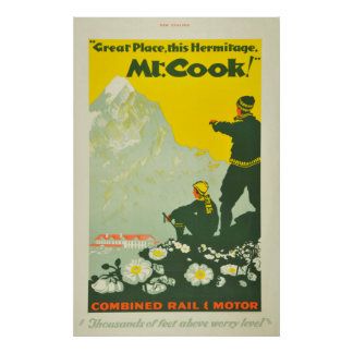 Vintage Mount Cook New Zealand Travel Climbing Poster