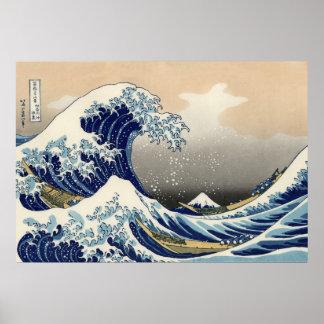 Vintage Mount Fuji and Wave Poster