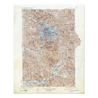 Vintage Mount Rainier Topographical Map Washington Photo Print
