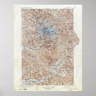 Vintage Mount Rainier Topographical Map Washington Poster