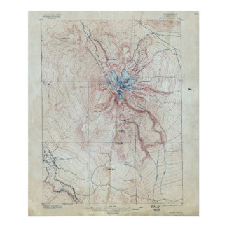Vintage Mount Shasta Topographical Map Poster