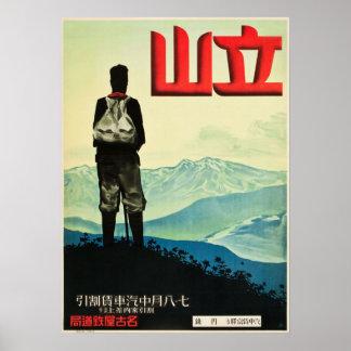 Vintage Mount Tateyama Japan Travel Poster