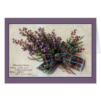 Vintage Mountain Heath Scottish clan ribbon, poem Card