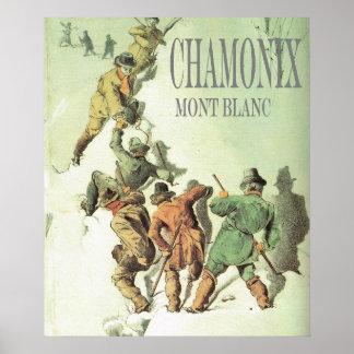 Vintage Mountaineering, Climbing Mt Blanc Poster