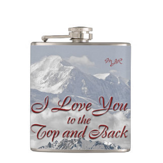 Vintage Mountains: I Love You to the Top and Back Hip Flask