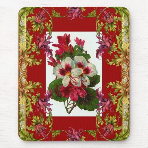 Vintage Mousepad Red Floral Mousepads