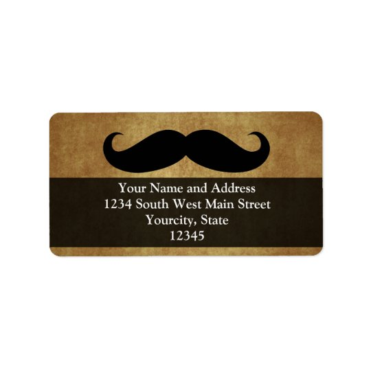 Vintage Moustache w/Custom Text Address Label