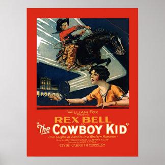 Vintage Movie Advertisement Rex Bell Cowboy Kid Poster