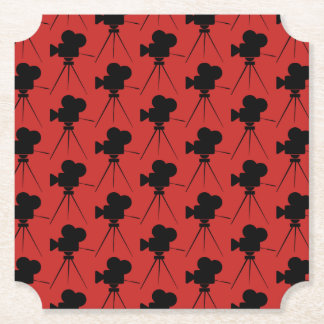 Vintage Movie Camera Pattern Home Theater Paper Coaster