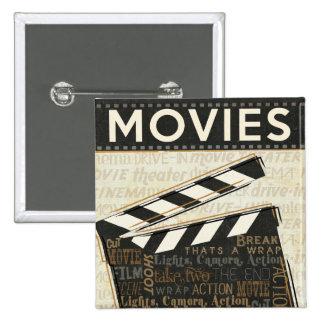 Vintage Movie Clapper 15 Cm Square Badge