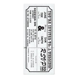 """Vintage Movie Ticket Wedding Invitation 4"""" X 9.25"""" Invitation Card"""