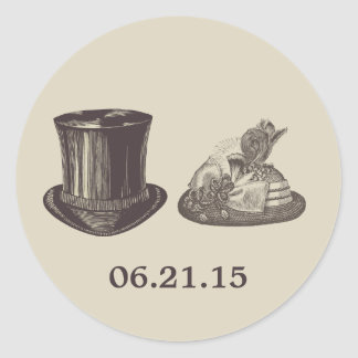 Vintage Mr. and Mrs. Hats Dark Tan Wedding Classic Round Sticker