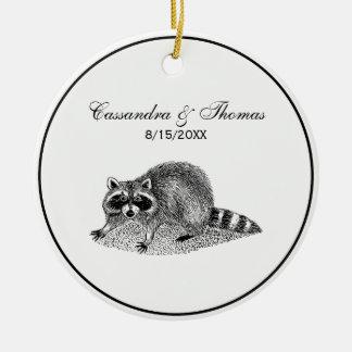 Vintage MSked Raccoon Ceramic Ornament