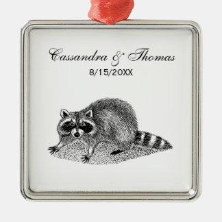 Vintage MSked Raccoon Metal Ornament
