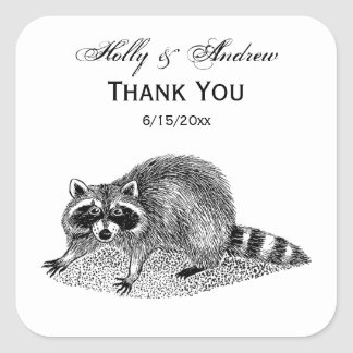 Vintage MSked Raccoon Square Sticker
