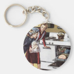 Vintage Mum in the Kitchen Cooking Easter Ham Key Chain