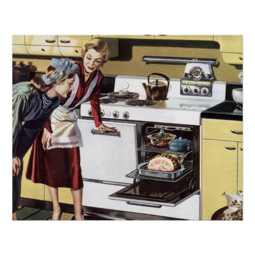 Vintage Mum in the Kitchen Cooking Easter Ham Print