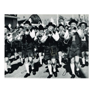 Vintage Munich, Oktoberfest, Marching band Postcard
