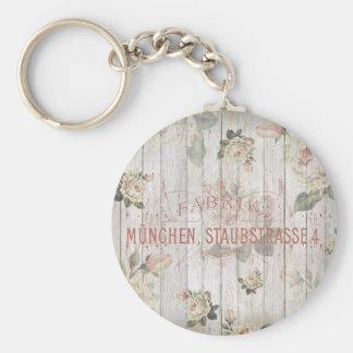 vintage,Munich,roses,typography,shabbychic,rose Basic Round Button Key Ring