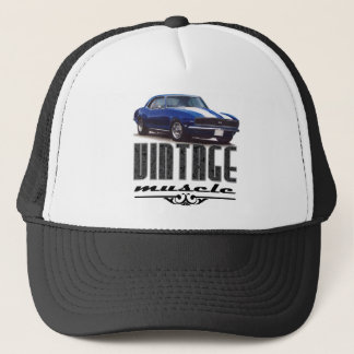 Vintage Muscle Blue Camaro Trucker Hat