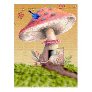 Vintage Mushroom Mouse House Greeting Card