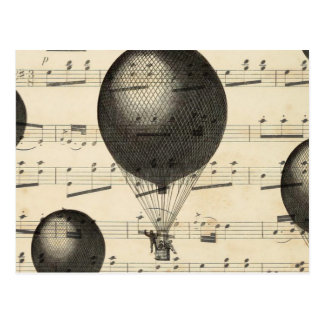 Vintage Music and Antique Hot Air Balloons Postcard