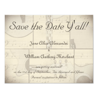 Vintage Music and Pop Art Guitar Save the Date 11 Cm X 14 Cm Invitation Card