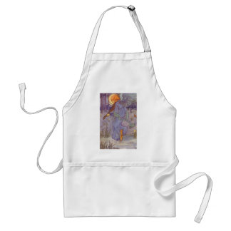 Vintage Music, Angel Playing Violin in the Forest Adult Apron