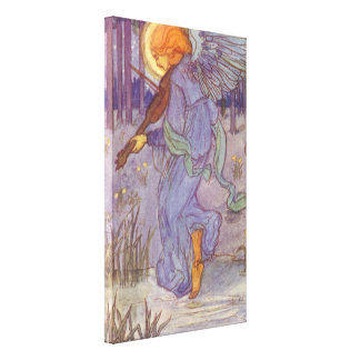 Vintage Music, Angel Playing Violin in the Forest Canvas Print
