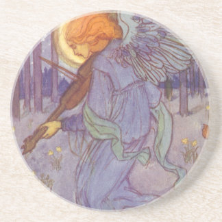 Vintage Music, Angel Playing Violin in the Forest Drink Coaster