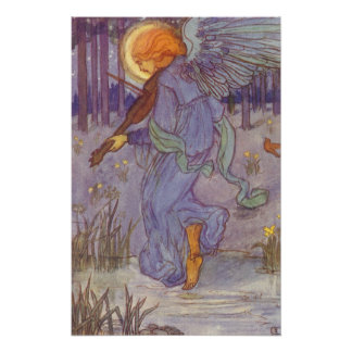 Vintage Music, Angel Playing Violin in the Forest Posters